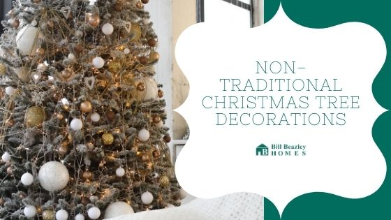 Non-traditional Christmas tree decorations banner