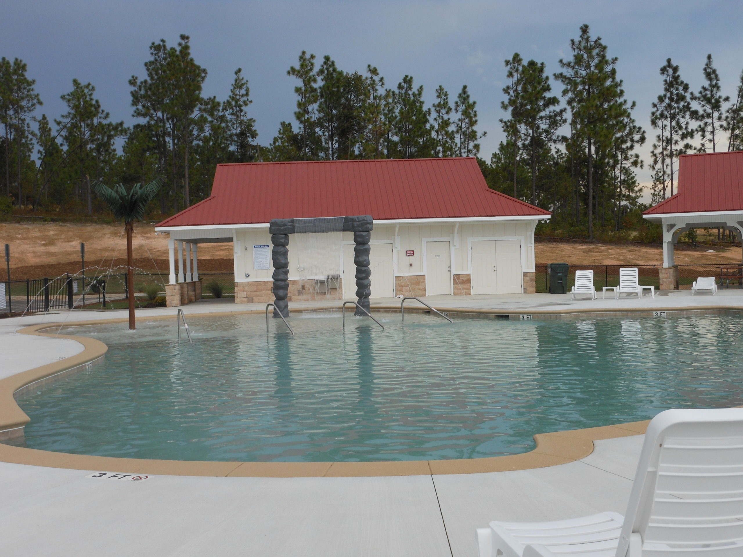 An image of the pool house at Greggs mill.