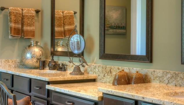 An image of marble counter top bathroom in Haynes Station.