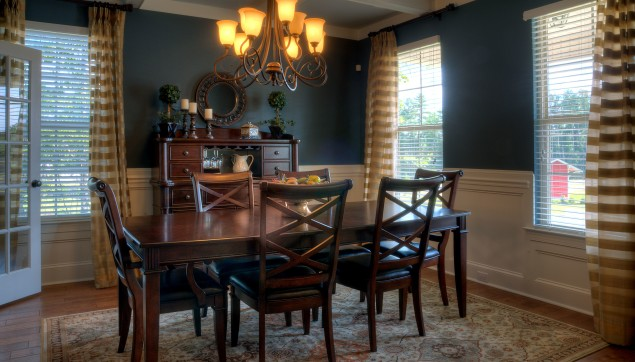 An image of a formal dining room in haynes Station.