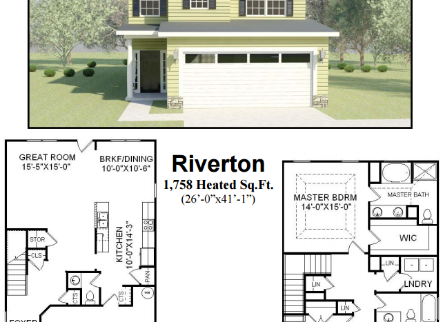 A rendering of Riverton with the floorplan.