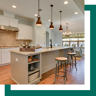Image of model home kitchen with square background